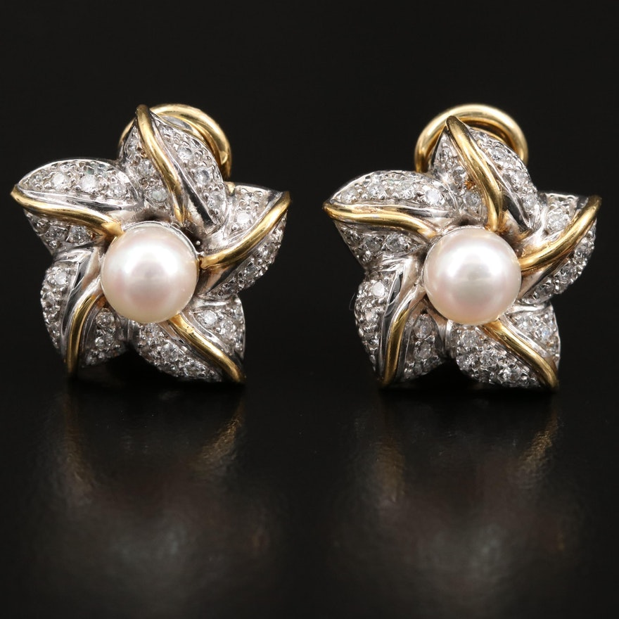 18K Pearl and 1.00 CTW Diamond Clip Earrings