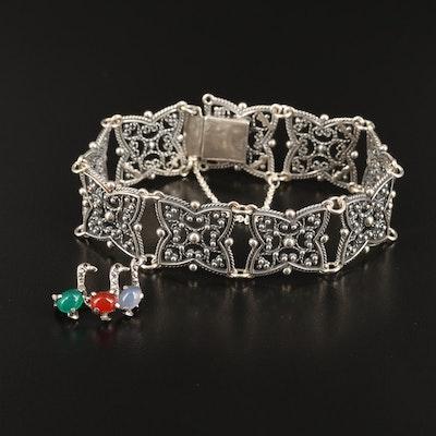 830 Silver Wire Work Panel Bracelet and Multi-Gemstone 935 Silver Brooch