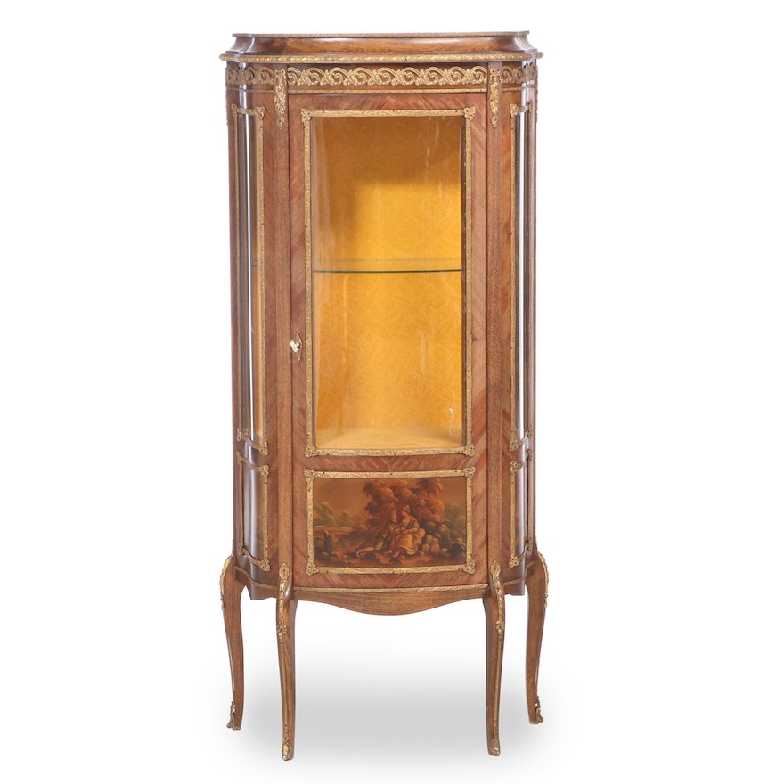 Louis XV Style Gilt Metal-Mounted and Polychrome-Decorated Vitrine