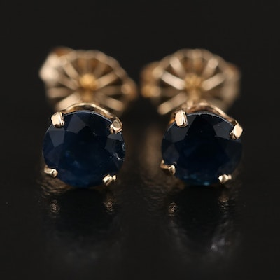 14K Sapphire Solitaire Stud Earrings