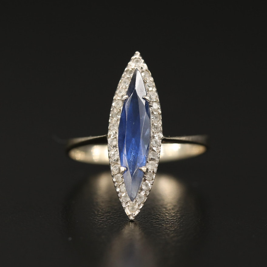 Art Deco 18K Sapphire and Spinel Navette Ring