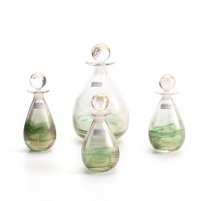 "Gozo Blown Glass Green and Gold ""Verdi"" Flacons"