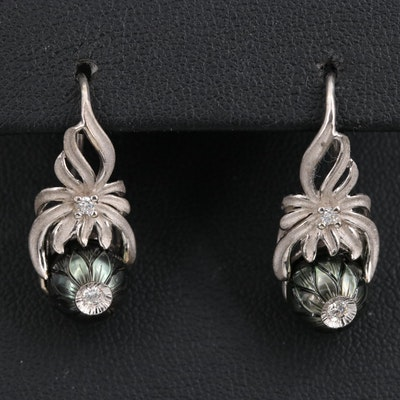 Galatea 14K Pearl and Diamond Floral Earrings