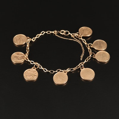 """Vintage French 14K """"Love Months of the Year"""" Charm Bracelet"""