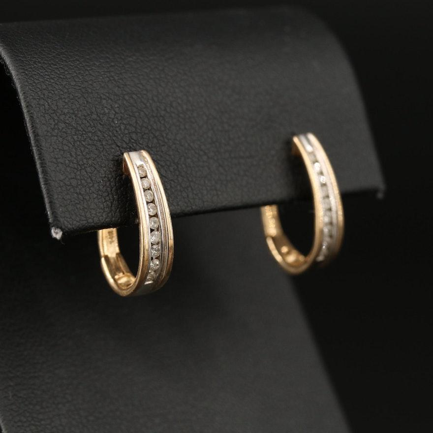 14K Channel Set Diamond Hoop Earrings