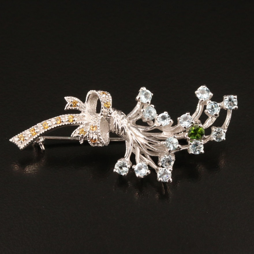 Sterling Silver Aquamarine, Diopside and Sapphire Floral Bouquet Brooch