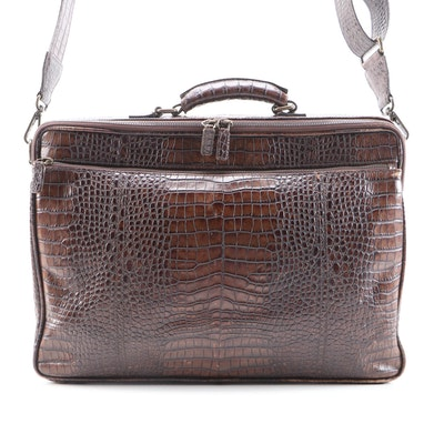 "Moore & Giles Travel Briefcase in Brown ""Sophistigator"" Embossed Leather"