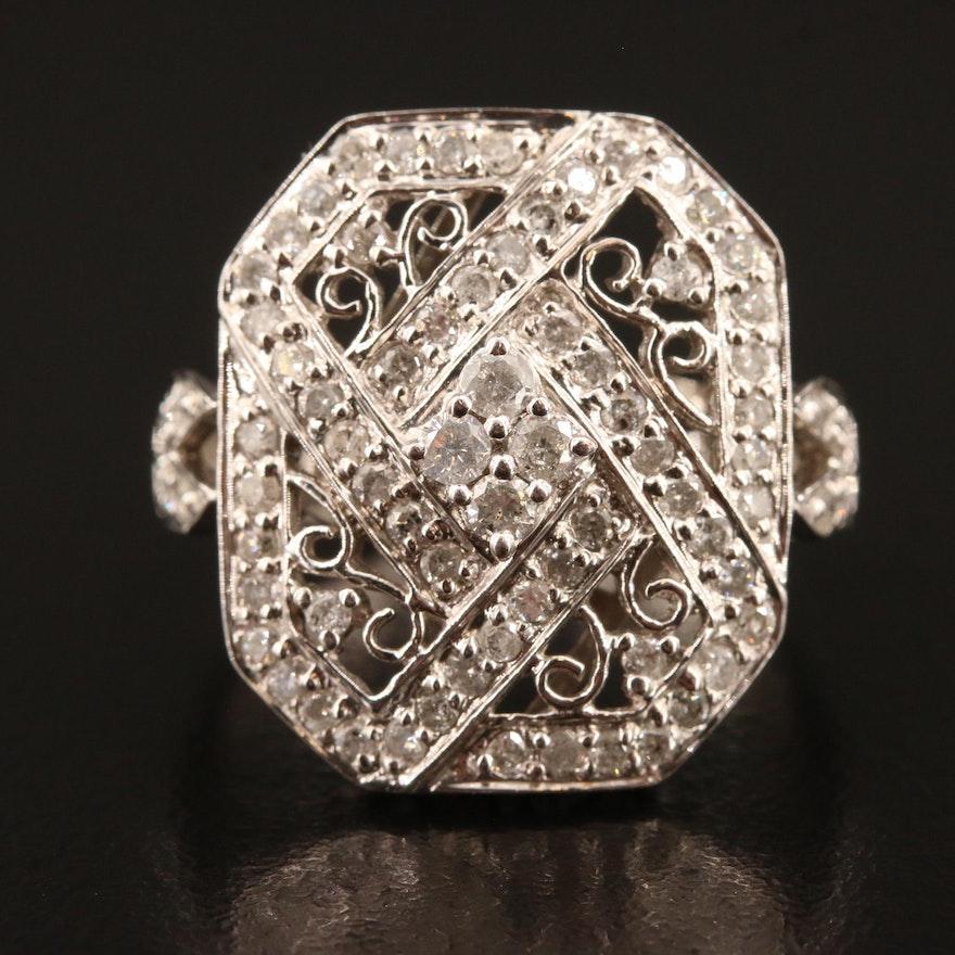 14K Open Work 1.00 CTW Diamond Ring