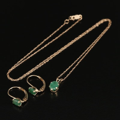 14K Emerald Drop Dangle Earrings and Pendant Necklace on 10K Chain