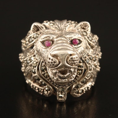 Sterling Silver Marcasite Lion's Head Ring with Corundum Accents