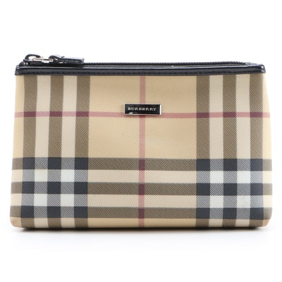 "Burberry London ""Nova Check"" Coated Canvas Accessories Pouch"