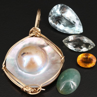 Blister Pearl Pendant with Loose Quartz, Nephrite and Citrine Gemstones