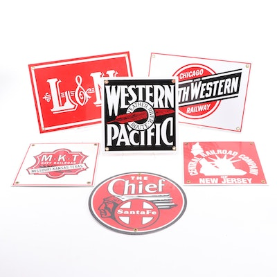 "Replica Metal Railway Signs, ""Santa Fe The Chief,"" ""L&N,"" ""Northwestern,"" More"