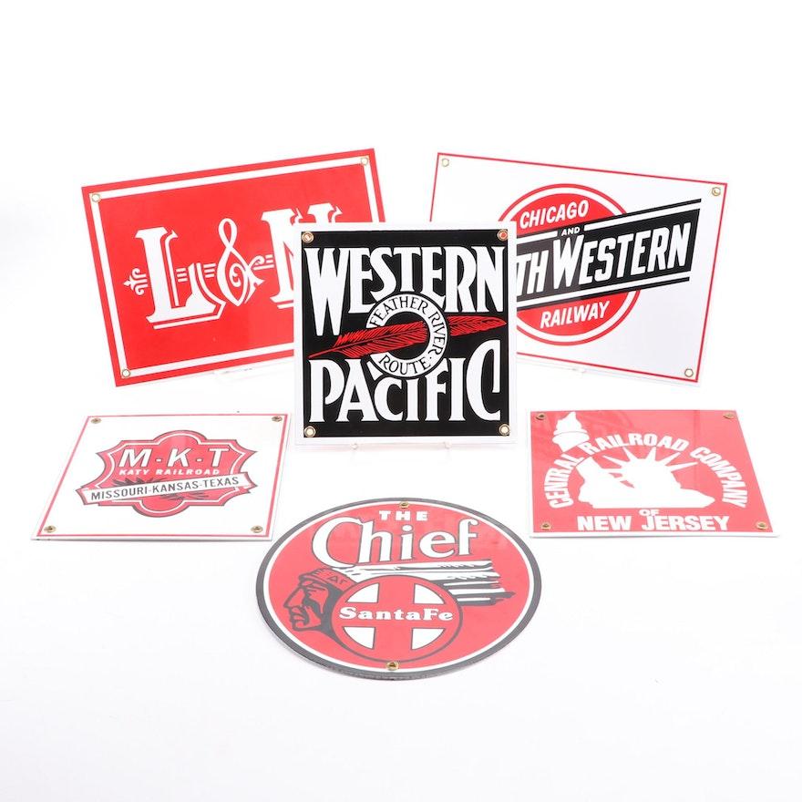 "Replica Metal Railway Signs, ""Santa Fe The Chief,"" ""L&N,"" ""Northwestern,"" More"
