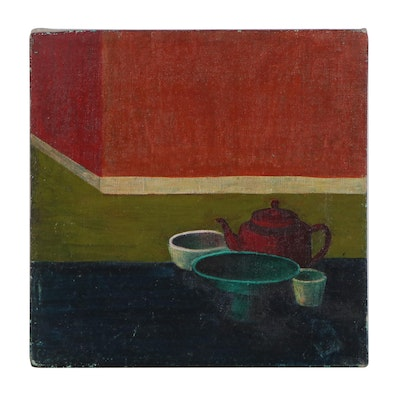 Abstract Still Life Oil Painting, Mid-20th Century