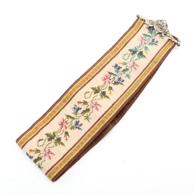 Handmade Floral Needlepoint Bell Pull with Brass Hanger