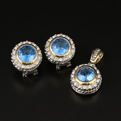 Halo Pendant and Earrings Set Featuring Blue Glass Accents