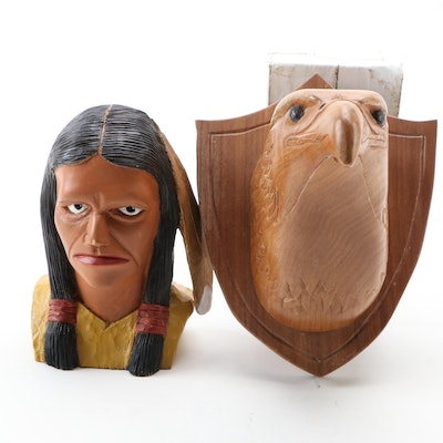 Wilson Day Wooden Native American Bust with Eagle Wall Decor