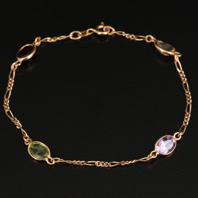 14K Amethyst, Citrine, Peridot and Garnet Station Bracelet with Figaro Chain