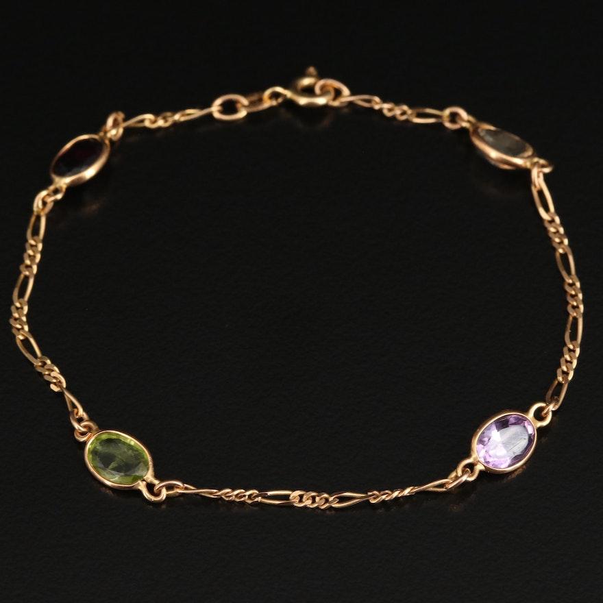 14K Amethyst, Citrine, Peridot and Garnet Station Bracelet with Figaro Chain