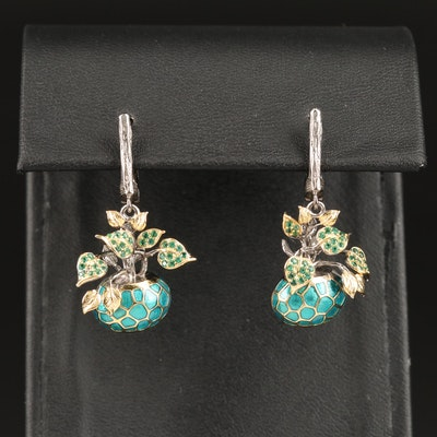 Sterling Cubic Zirconia and Enamel Potted Plant Dangle Earrings