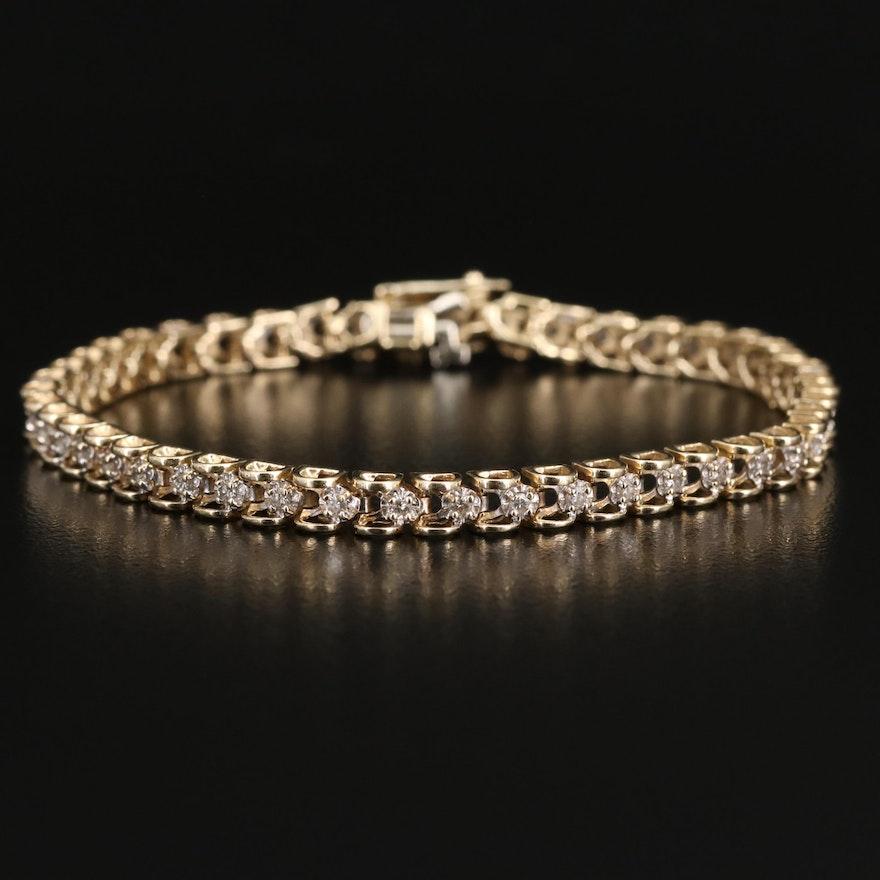 14K 0.90 CTW Diamond Tennis Bracelet