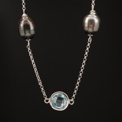 Sterling Silver Topaz and Pearl Station Necklace