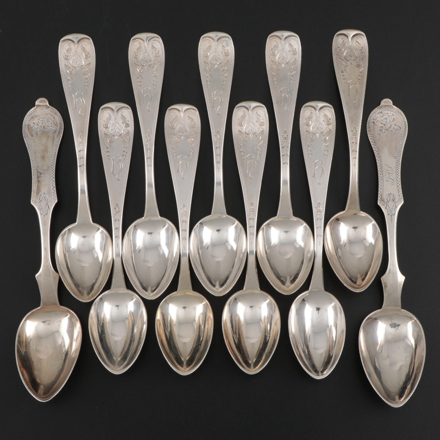 Duhme & Co. Sterling Silver Five o'clock Teaspoons, Mid to Late 19th Century