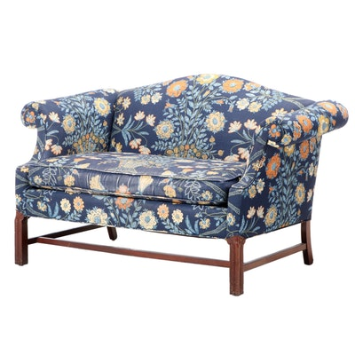 Hunt Galleries Chippendale Style Floral-Upholstered Mahogany Loveseat