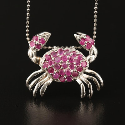 Sterling Silver Ruby Crab Pendant Necklace