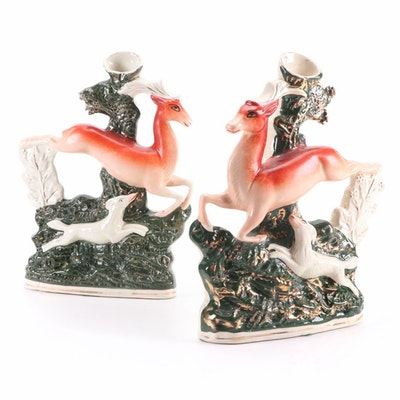 Staffordshire Stag Hunt Spill Vases, Mid to Late 19th Century