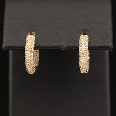 18K Diamond Inside-Out Huggie Earrings
