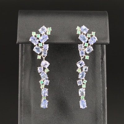Sterling Tanzanite and Emerald Cluster Dangle Earrings