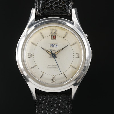 Vintage Wittnauer Calendar Stainless Steel Automatic Wristwatch