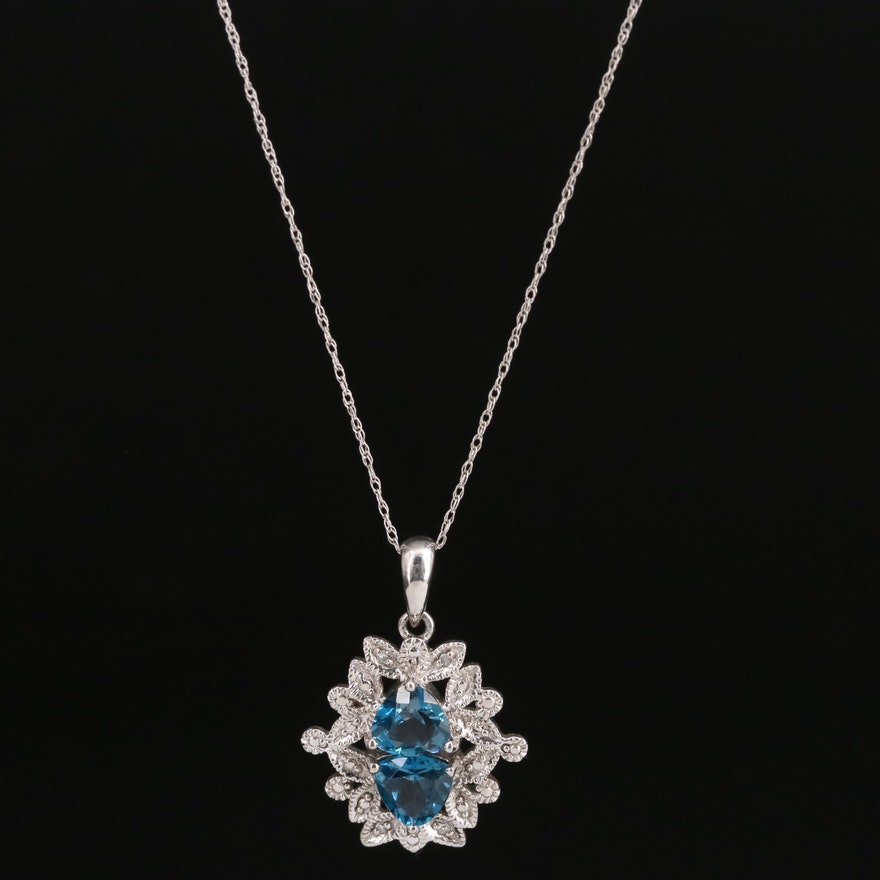 10K Topaz and Diamond Pendant on 14K Singapore Chain Necklace