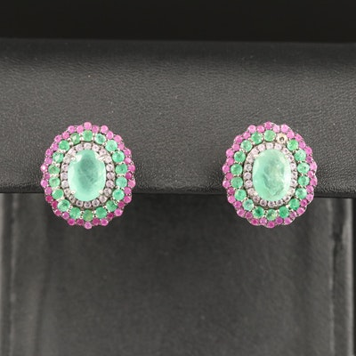 Sterling Emerald, Ruby and White Sapphire Drop Earrings