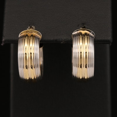 14K Two-Tone Fluted Hoop Earrings