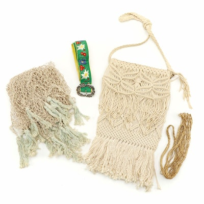 Macramé Style Bag, Edelweiss Embroidered Belt and Fishnet Tassel Shawl