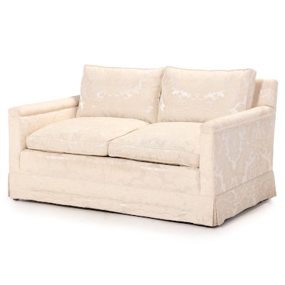 Damask-Upholstered Loveseat, Mid to Late 20th Century