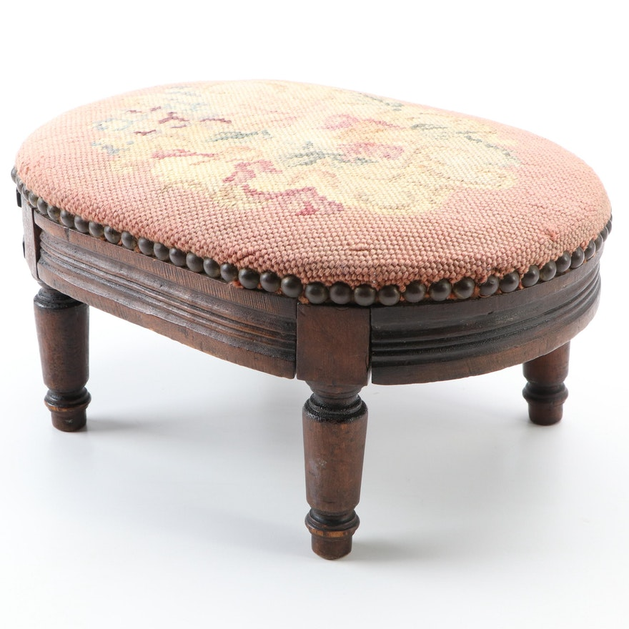 Victorian Needlepoint Walnut Footstool, Late 19th/Early 20th Century