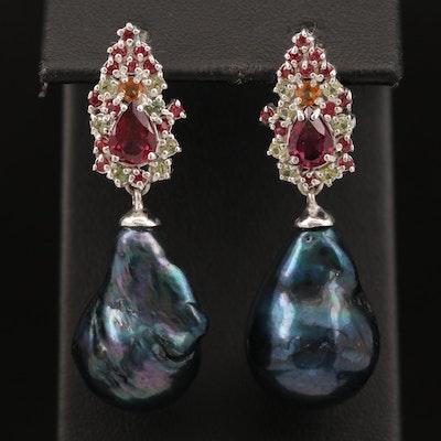 Sterling Baroque Pearl, Garnet and Sapphire Drop Earrings