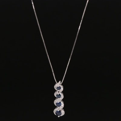 14K Sapphire and Diamond Pendant Necklace