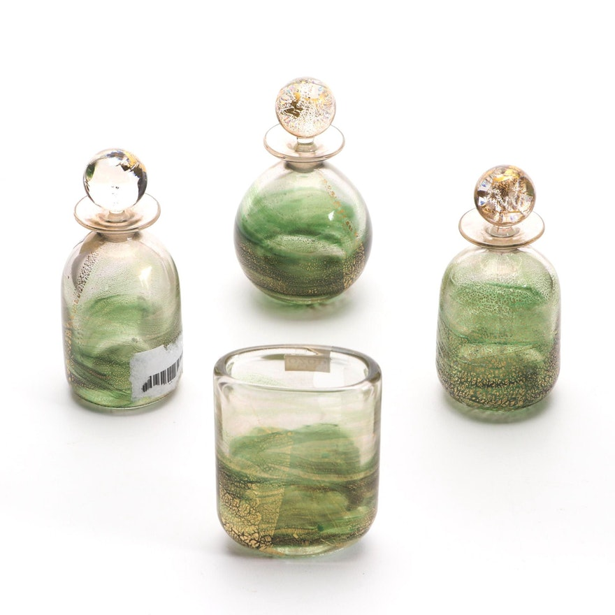 "Gozo Glass ""Verdi"" Perfume Bottles and Bud Vase"