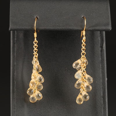 Sterling Citrine Dangle Earrings