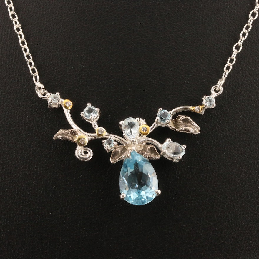 Sterling Silver Topaz and Cubic Zirconia Stationary Pendant Necklace