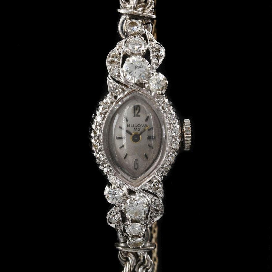 14K Gold and 1.05 CTW Diamond Bulova Stem Wind Wristwatch