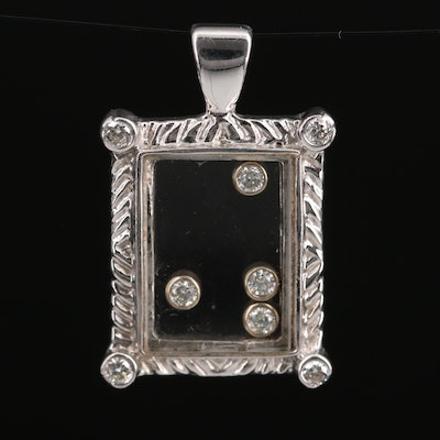 14K Diamond Under Glass Pendant