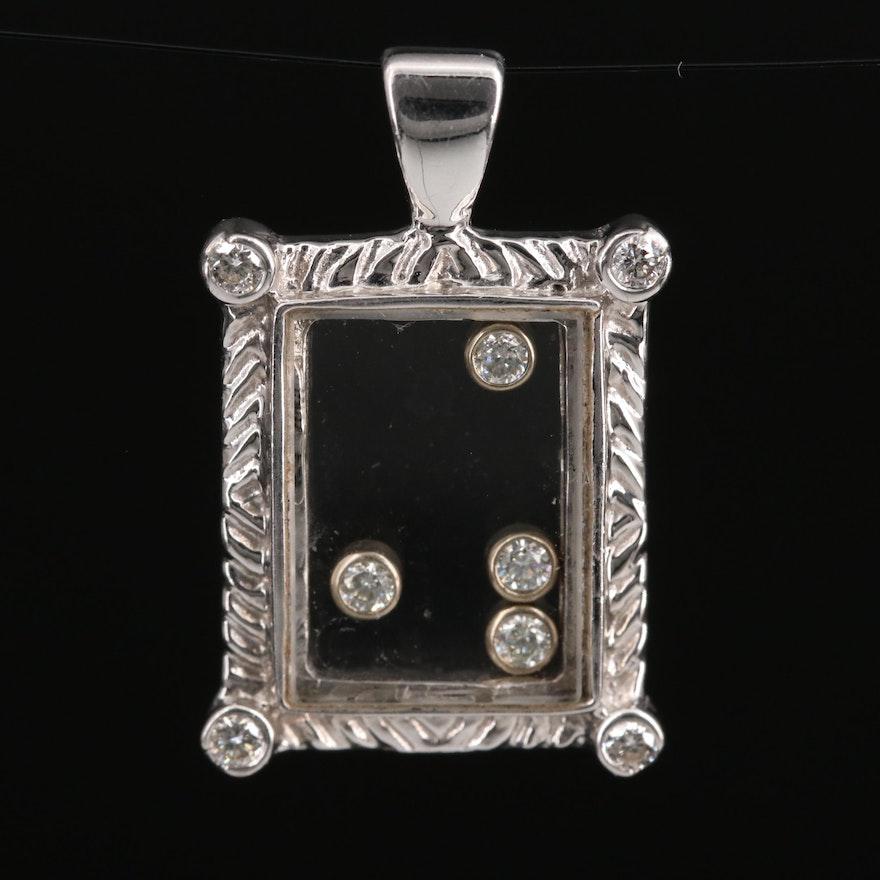 14K Diamond Under Glass Pendant