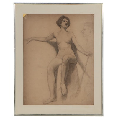 Graphite Figure Drawing of Seated Female Nude, Mid 20th Century