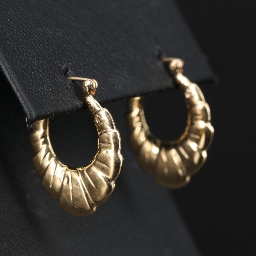 14K Shrimp Hoop Earrings